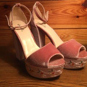Velvet Blush Ankle Strap Heel